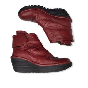 Fly London Yegi Red Leather Wedge Boots.